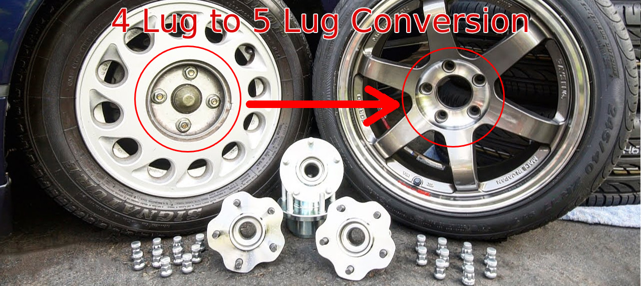 Wheel 4 to 5 lug conversion kit with PCD spacers